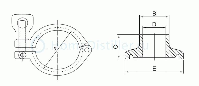 схема чертеж клампового соединения